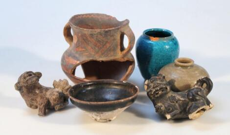 Various terracotta earthenware and part glazed wares