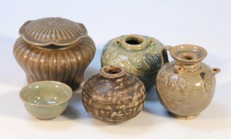 Various celadon glazed earthenware