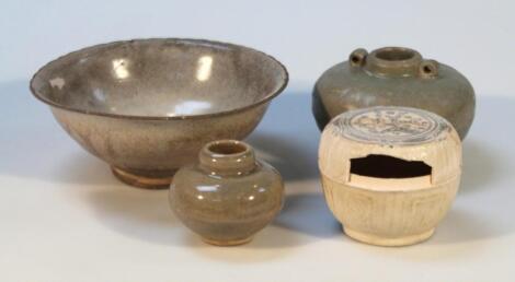 Various celadon style earthenware