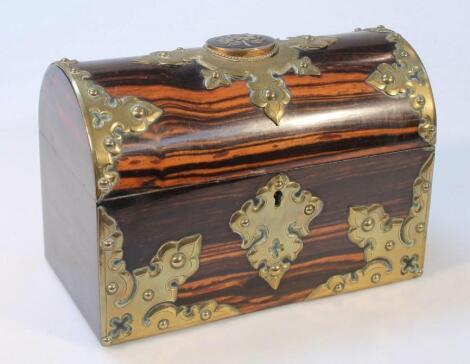 A 19thC brass and coromandel stationery box