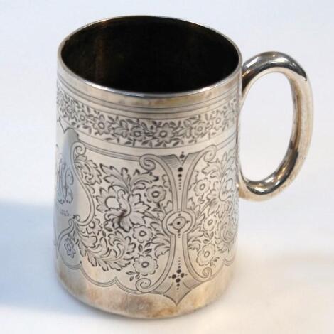 A Victorian silver christening mug