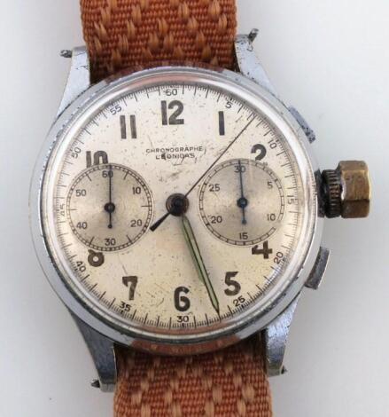 An early 20thC Leonidas gentleman's wrist chronograph