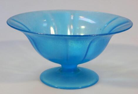 A 20thC opalescent blue glass bowl