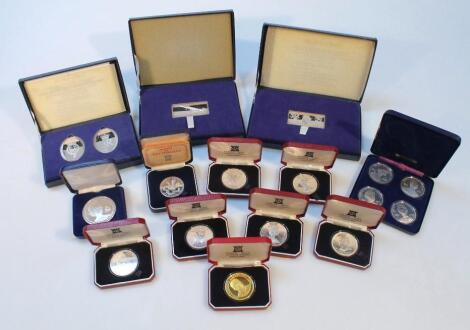 Various proof silver silver gilt and other cased coins
