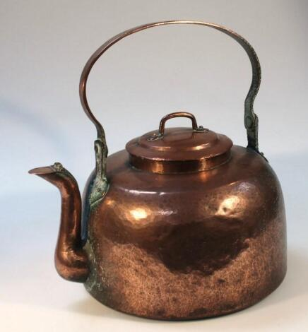 A late 19thC industrial sized copper kettle