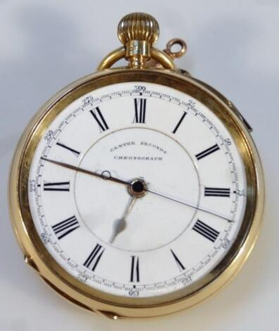 A Victorian gentleman's 18ct gold open face chronograph