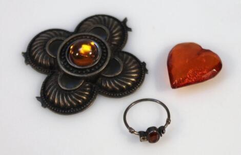Various amber finish jewellery