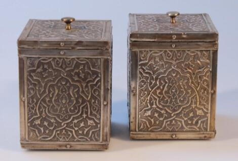 A pair of late 19thC/early 20thC Indian tea canisters
