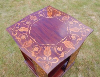 An Art Nouveau mahogany and marquetry revolving book stand - 2