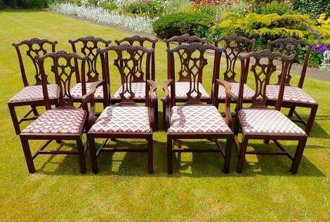 A set of ten Chippendale style mahogany dining chairs