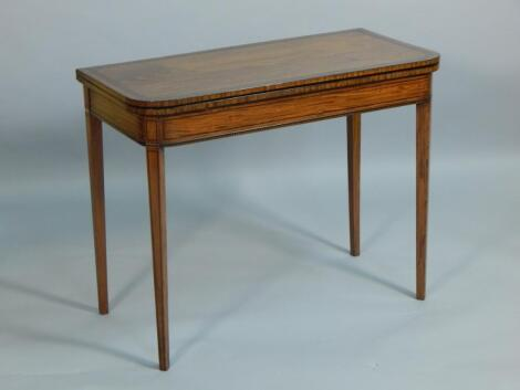 A 19thC satinwood and burr walnut cross banded card table