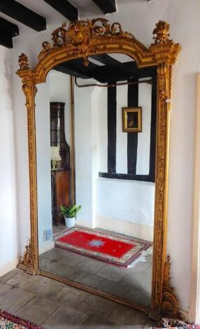 A large 19thC overmantel mirror
