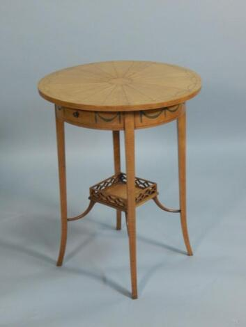 A late 19thC Sheraton Revival satinwood circular occasion table