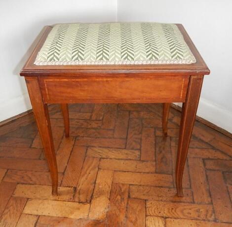 A Sheraton Revival inlaid mahogany dressing stool