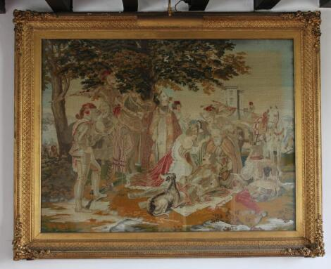A large 19thC wool needlework picture