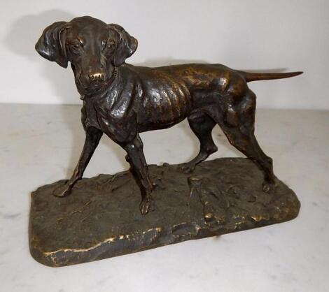 After Pierre Jules Mene (1810-1879). A bronze sculpture of a standing Pointer on rustic base