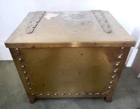 A brass coal box
