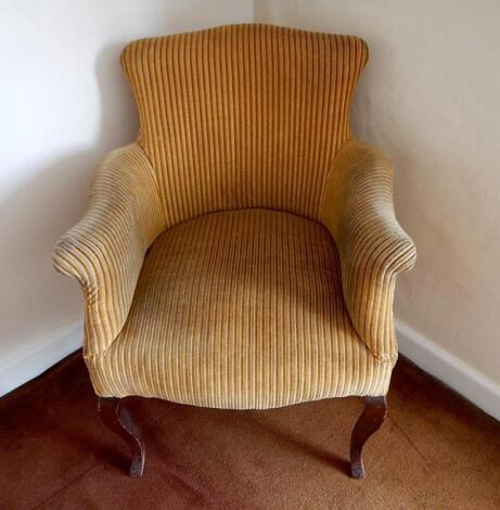 A French style mahogany framed upholstered armchair