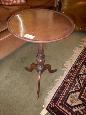 A Georgian style mahogany tripod wine table.