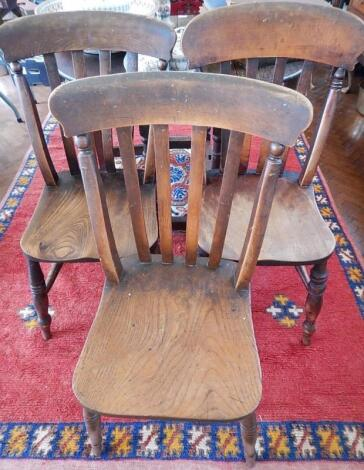 Three Victorian elm and beech single chairs.