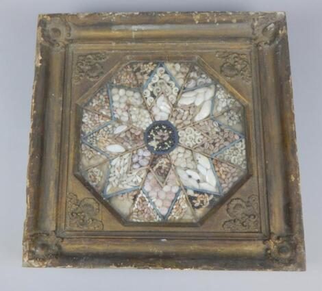 An early 19thC sailor's valentine or shell picture