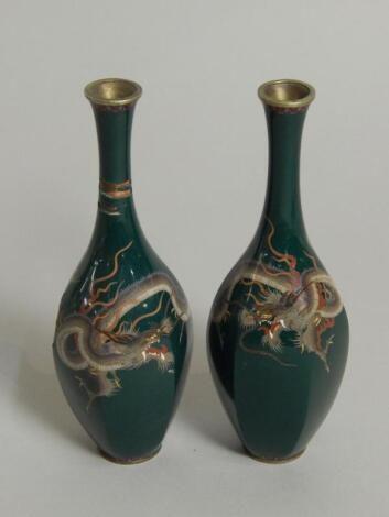 A pair of Japanese cloisonne white metal vases