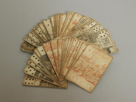 A rare set of fifty two 18thC playing cards