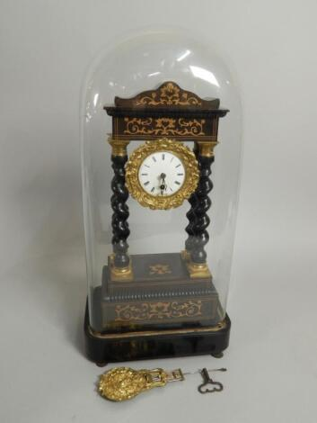 A mid 19thC French ebonised French and marquetry portico type clock