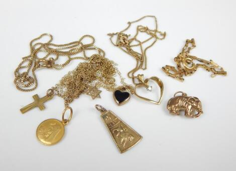 Various pendants and chains