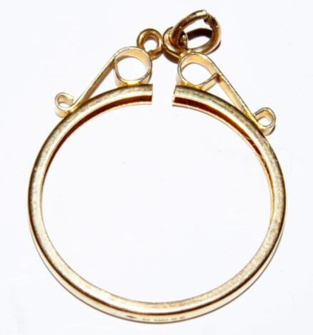 A 9ct gold pendant frame