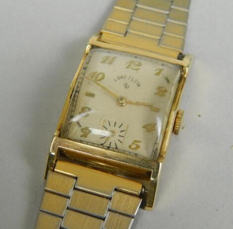 A rectangular mid sized mid 20thC bracelet wristwatch