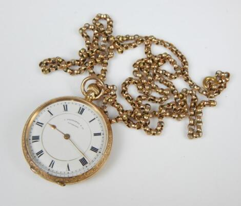 A 9ct gold pocket watch and chain