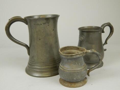 Three 19thC items of pewter