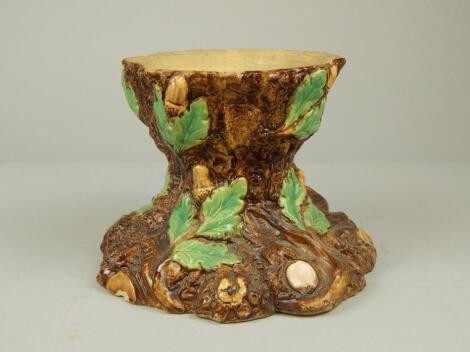 A Majolica plant stand