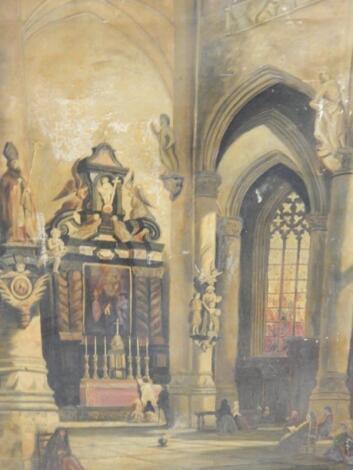 E Nicholson (19th/20thC). Cathedral interior