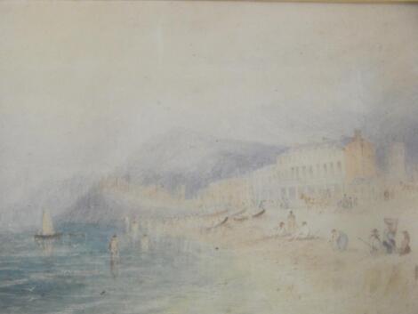 18th/19thC Continental School. Coastal scene with figures