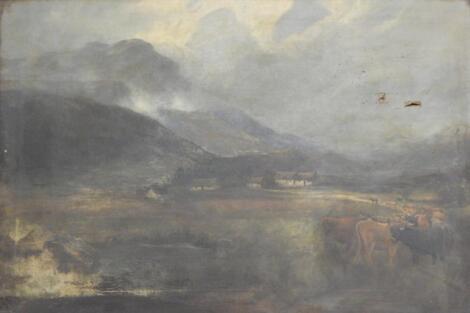 19thC British School. Highland cattle in landscape
