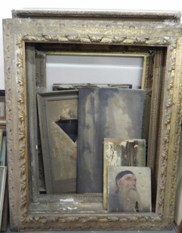 Three large 19thC gilt plaster picture frames