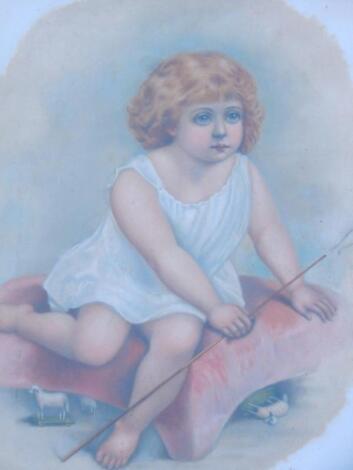 A Victorian milk glass picture