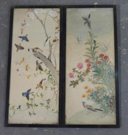 A pair of 19thC Chinese watercolours on silk