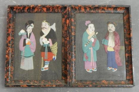 A pair of Chinese needlework pictures