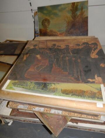Various oil paintings.