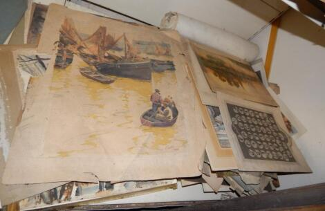A large quantity of unframed prints
