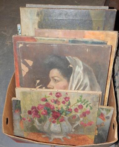 Various unframed 20thC oil paintings.