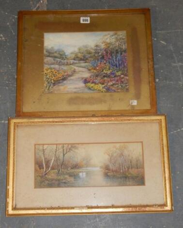 Two gilt framed landscape watercolours