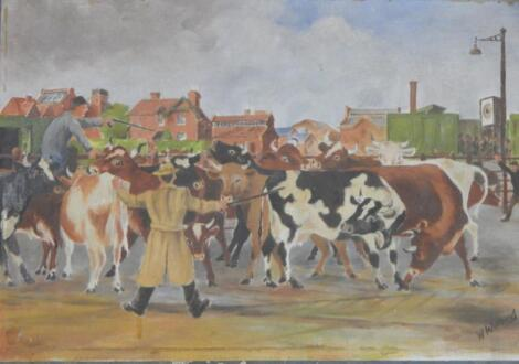 W. Willbond. Cattle herding at the market