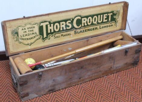An early 20thC Thors' Slazenger croquet set