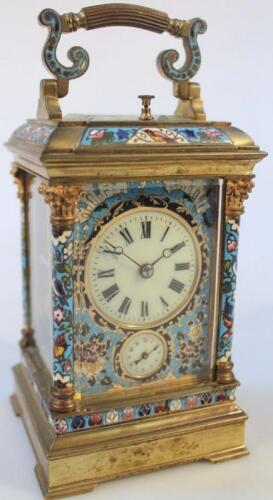 A late 19thC French gilt brass and champleve enamel striking and repeating carriage clock
