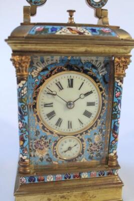 A late 19thC French gilt brass and champleve enamel striking and repeating carriage clock - 2