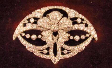 A Belle Epoque Edwardian diamond set brooch